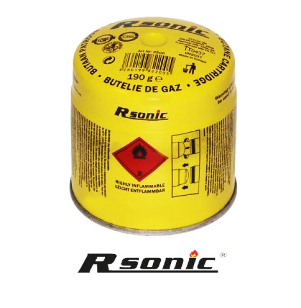 PLYNORsonic, náplň do plynového vařiče 190g (Plynová kartuše Rsonic náplň do plynového vařiče, 190 g Plynová náplň do vařičů, kartuš Rsonic, Plyn je v tekutém stavu. Kovový obal průměr 9 cm, výška 9cm.)