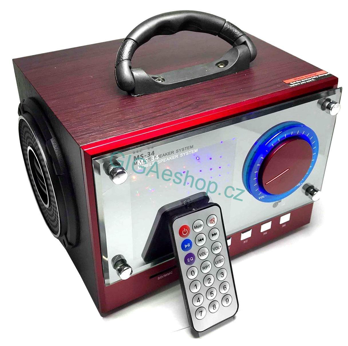 BEZDRÁTOVÝ BLUETOOTH REPRODUKTOR, FM RÁDIO (Nabíjecí, přenosný, bluetooth reproduktor s ovladačem a FM rádiem, USB, SD, AUX)