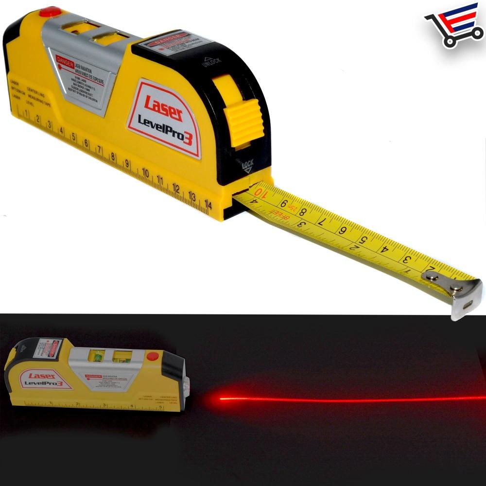 LASEROVÁ VODOVÁHA SE SVINOVACÍM METREM (Laserová vodováha, řešení pro měření roviny a vzdálenosti. I